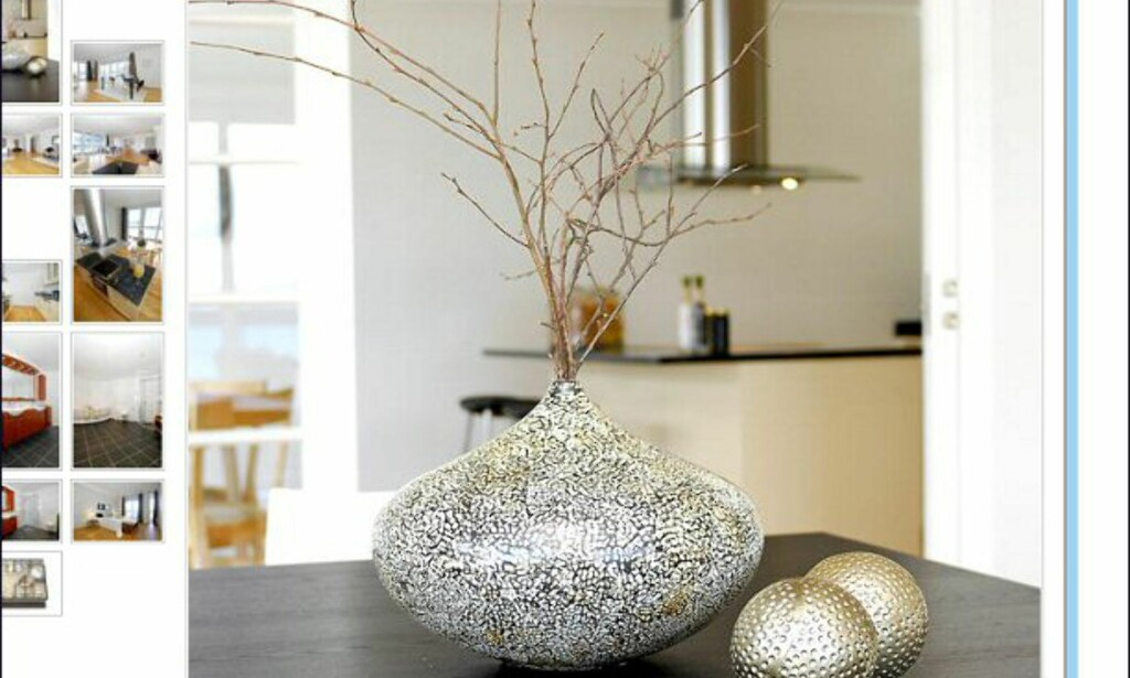 Enda en kvist i en vase. Her fra en leilighet på Bryggen i Bergen til 10,5 millioner kroner. Faksimile fra finn.no.