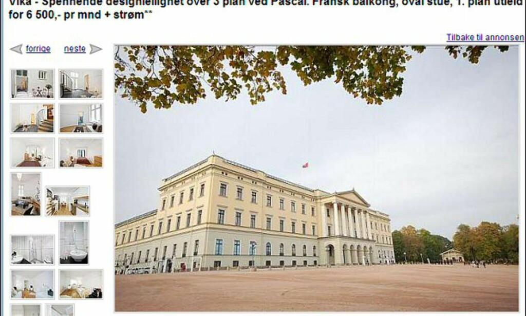 Wow, selger de slottet? Nei, da. Men leilighet i Vika til 3,95 millioner kroner ligger i nærheten, forstår du... Faksimile fra finn.no.