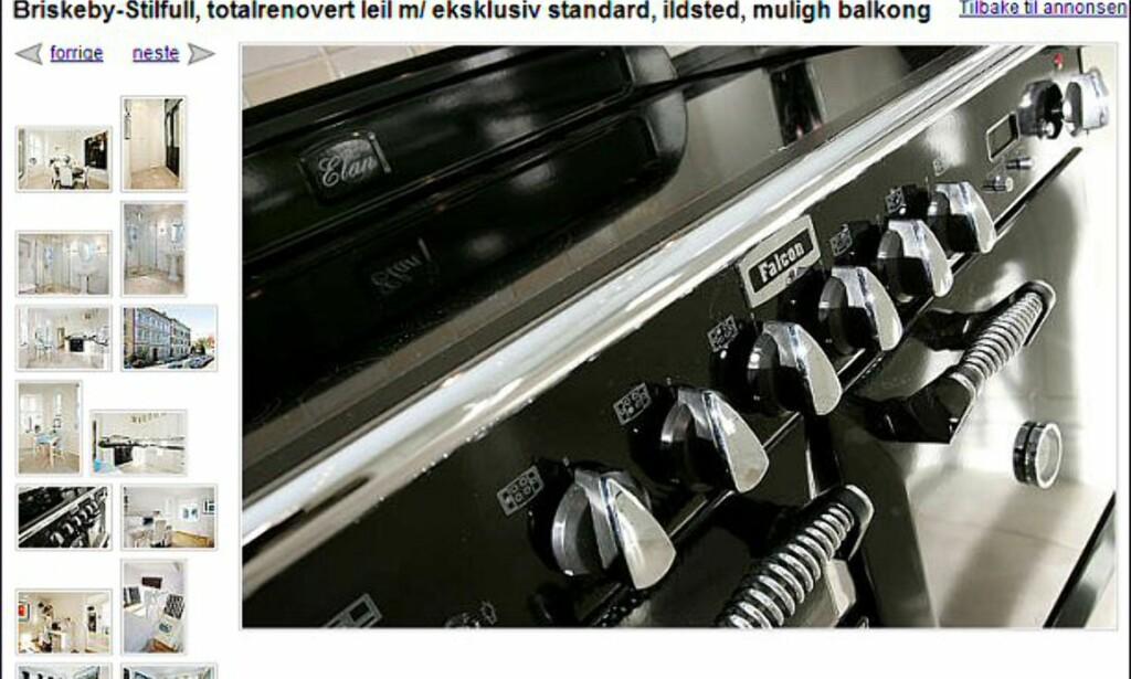 Her ser du knappene på den nye komfyren din, om du kjøper leiligheten på Briskeby til 5,29 millioner kroner. Faksimile fra finn.no.