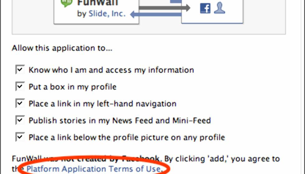 Husk å lese vilkårene for applikasjoner du velger å plugge inn på profilsiden din.