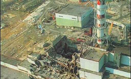 Luftfoto fra Chernobyl etter ulykken.