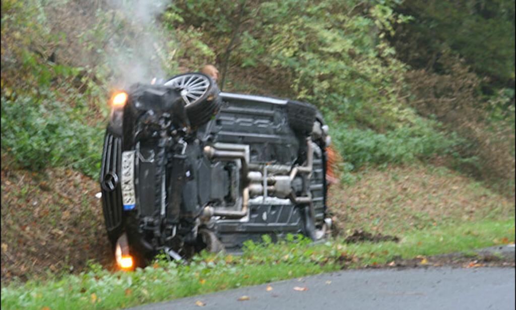 Slik går det hvis man er uforsiktig uten ESP. Ingen ble skadd og ingen nordmenn var innvolvert i ulykken.