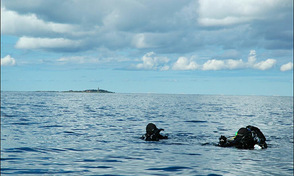 Dykkere med Hirsholmene i bakgrunnen.