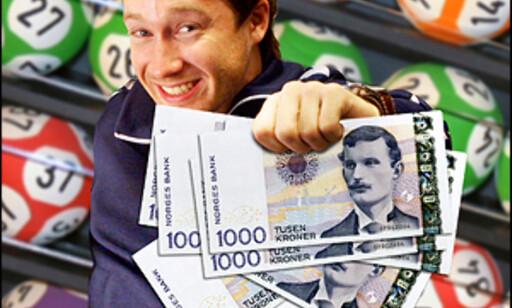 Ifølge den danske undersøkelsen skal lottovinnere være glade. Bildeillustrasjon: Per Ervland.