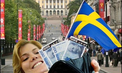 Jobbe og bo i Norge er gunstig for nesten alle svenskens budsjettposter. Illustrasjon: Per Ervland Foto: Illustrasjon: Per Ervland