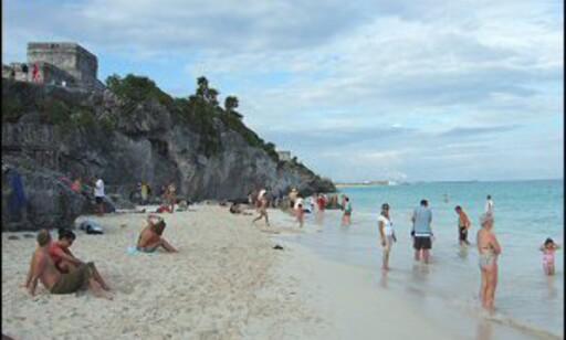 Riviera Maya venter med sol og badetemperaturer i vinter. Her ser du mayaruinene i Tulum.