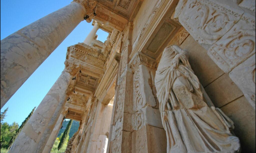 De fire statuene i fasaden på biblioteket representerer godhet, tanke, kunnskap og visdom.