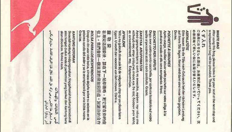 Verdensrekord! Eksperten sier at denne posen med instruksjoner på hele 11 språk er den eneste av sitt slag i verden.
