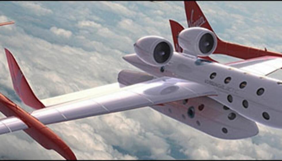 Slik forestiller Virgin Galactic seg at SpaceShipTwo med transportflyet WhiteKnightTwo vil se ut.