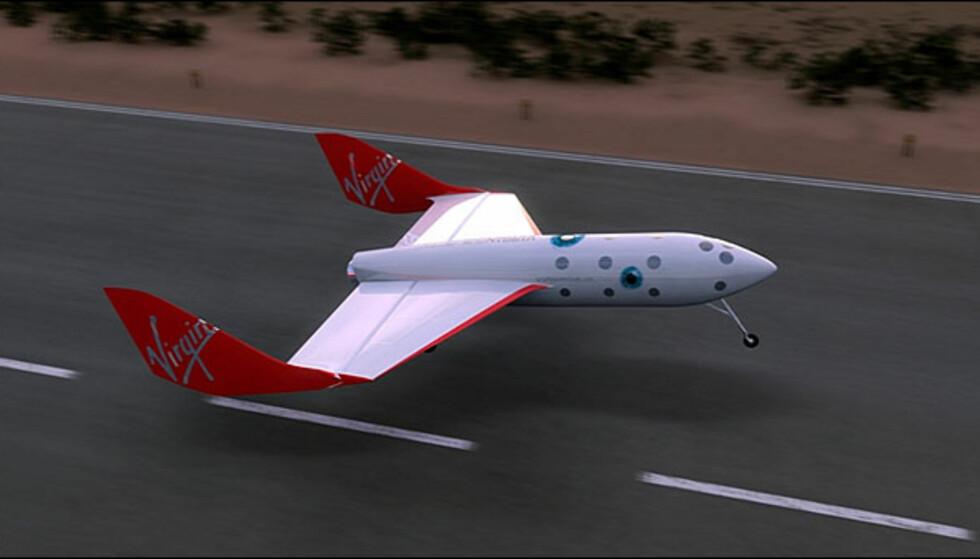 VSS Enterprise, slik man forestiller seg SpaceShipTwo under landing med seks personer om bord.
