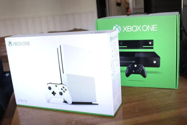 KOSTER: Xbox One S har en høyere pris, naturlig nok. Dessuten vil den gamle Xbox One-utgaven trolig havne på enda flere tilbudshyller framover. Foto: Ole Petter Baugerød Stokke