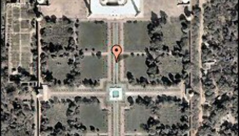 Slik ser satelittbildet av Taj Mahal ut. Det er hentet fra Google Earth. Foto: Google Earth/Virtual Tourism