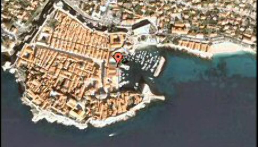 Kjenner du deg igjen? Dette fotoet er fra Dubrovnik havn. Foto: Google Earth/Virtual Tourism