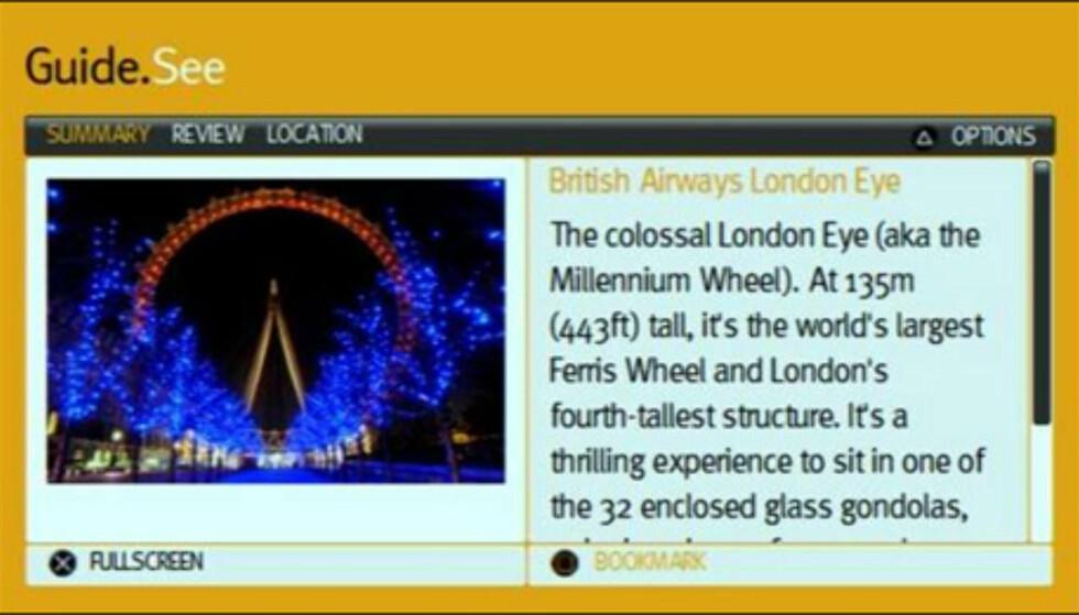 """Turistattraksjonen London Eye sett fra spillet """"Passport to London"""" til PSP."""