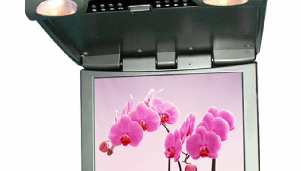 Skjermer som monteres i taket kan klappes sammen, og dermed bli nærmest usynlige når de ikke er i bruk. Cube JPP-A154J er blant de største vi har sett, hele 15,4 tommer. Oppløsningen er på 1280 x 800, nok til HD-video (720i). Skjermen har to analoge kompositt-innganger, for eksempel fra bilstereo med DVD. Pris: 8.990 kroner.