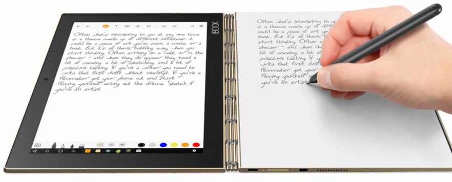 ANNERLEDES: I stedet for fysisk tastatur, har Lenovo valgt å gjøre den ene halvdelen av Yoga Book helt flat, slik at du kan skrive med penn på den. Foto: Lenovo