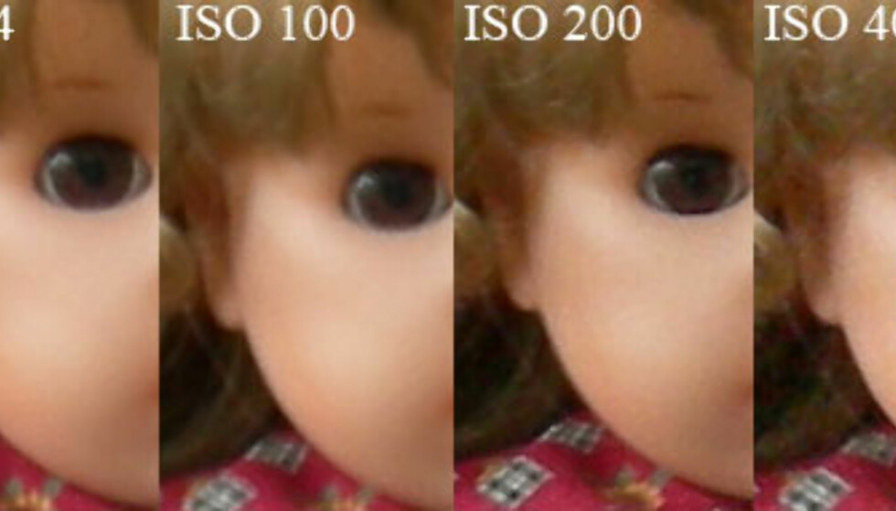 Vi holdt kameraet i hånden under disse opptakene. Utsnittene er vist i full størrelse. Støynivået er generelt lavt til ISO 200, og ISO 400 er faktisk også brukbart.