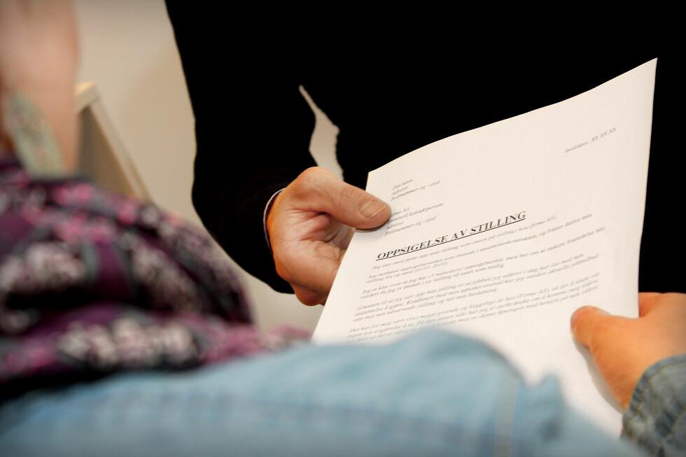 KAN VÆRE KORT: Et oppsigelsesbrev trenger ikke være langt om du ikke ønsker det. Foto: Ole Petter Baugerød Stokke