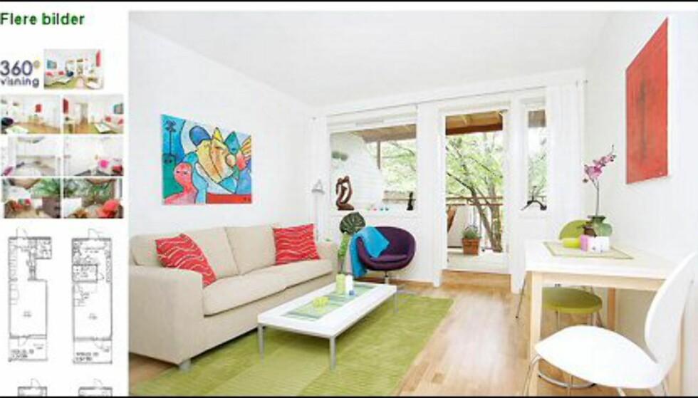 En av iHus' boliger som ser typisk boligstylet ut: Rene linjer, noen få, men sterke, farger og minimalt med personlige effekter. Faksimile fra www.finn.no.