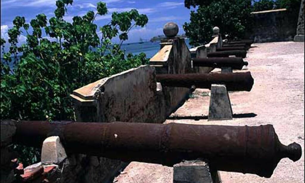 Kanonene på dette fortet er godt rustne nå, men for noen århundrer siden var fortet på Isla Margarita aktivt i beskyttelse mot fremmede kolonimakter og sjørøvere.  Foto: Stian Mong