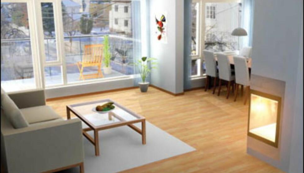 En av flere luksusleiligheter med heis rett inn i leiligheten i Bergrådveien 5 på Tåsen i Oslo. Pris: Fra 4.900.000 kroner (Gjensidige Nor).