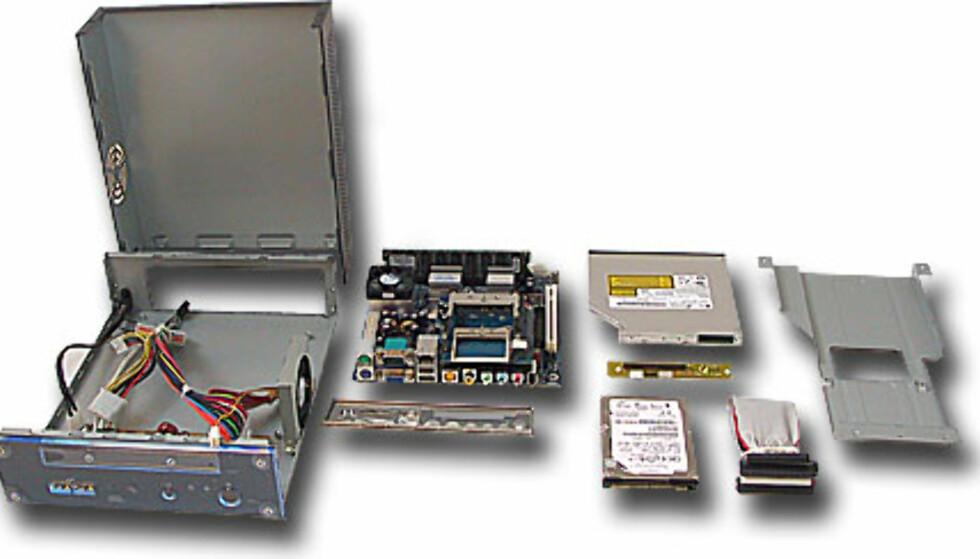 Her er alle delene som skal monteres sammen til en mini-ITX PC