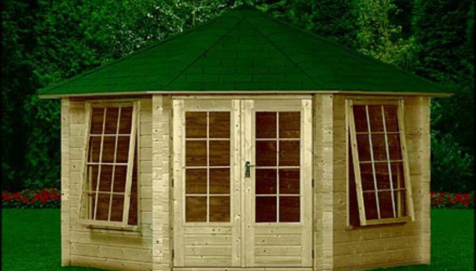 Anemoon fritidshus: 6,80 kvadratmeter, 19.900 kroner. Importør er RKC, kan kjøpes gjennom bla. Maxbo, Byggmakker, Montèr og Felleskjøpet.