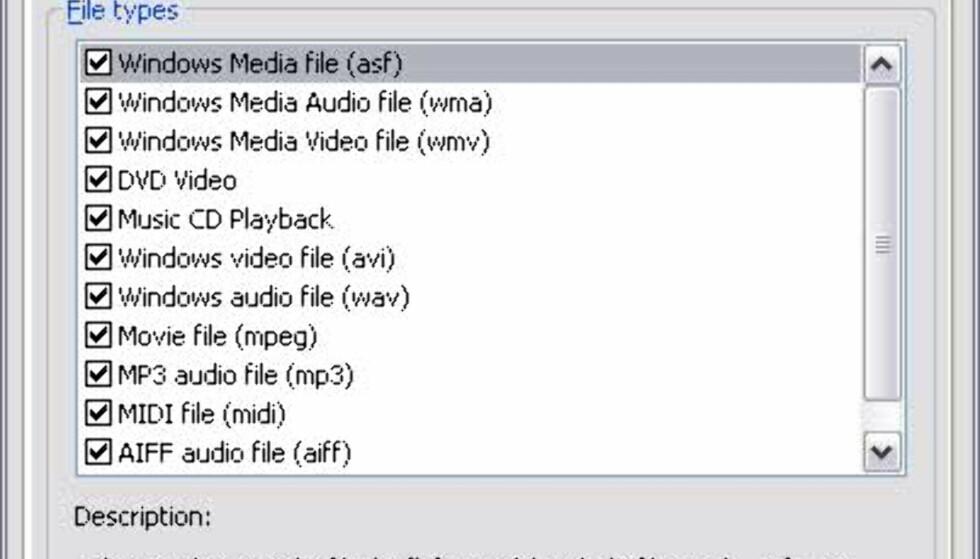 Innstillingene. Det er ikke blitt støtte for nye formater, som f. eks AAC og Ogg Vorbis.