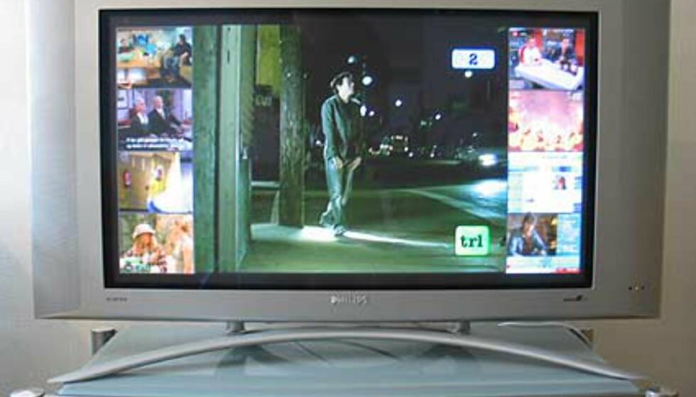 TV-sending med bilde-i-bilde meny aktivert. Her vises 8 ekstra kanaler.