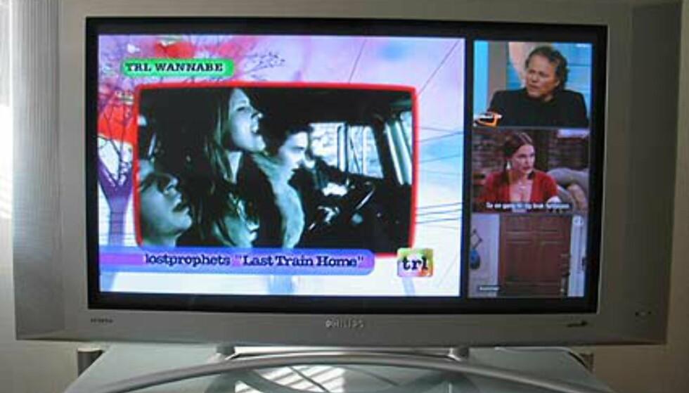 TV-sending med bilde-i-bilde meny aktivert. Her vises 3 ekstra kanaler.