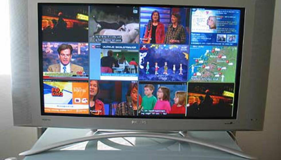 TV-sending med bilde-i-bilde meny aktivert. Her vises 12 kanaler.