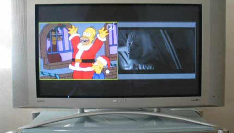 Splitscreen: Vår helt Homer til høyre, og DVD-film til venstre.