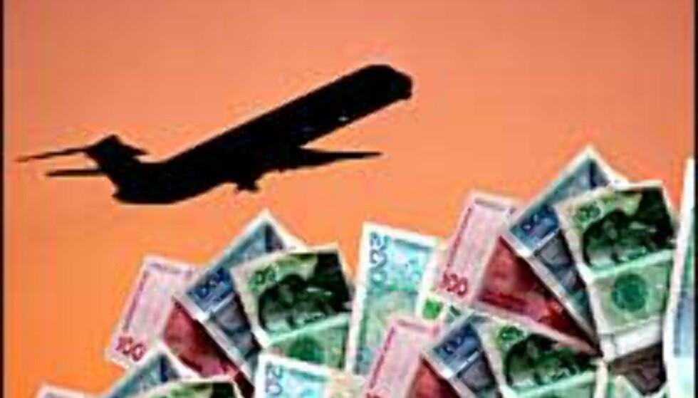 Både flyselskapene og passasjerene vil spare penger. MONTASJE