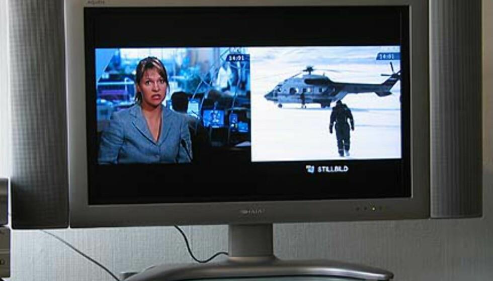 Bilde i bildefunksjon: Til høyre ser du livesendingen på NRK, mens bildet til venstre er fryst.