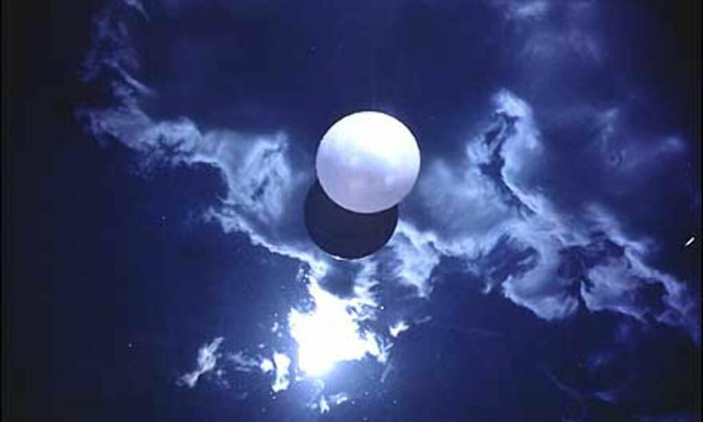 Som en del av utstilling som fokuserer på foto og levende bilder hører dette tvetydige bildet av Orozco til. Ball on Water er tittelen, men det minner jo mer om en måne.  Foto: Guggenheimmuseet
