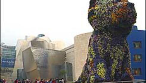 Guggenheimmuseet ligger ved bredden av elven Nervión.