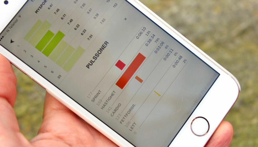 GIR INFO OM ALT DU TRENGER: I appen kan du sjekke hvordan treningsturen gikk, både med tanke på pulssoner, stigning, hastighet og mer. Det er presentert på en enkel måte som er lett å skjønne. Foto: KRISTIN SØRDAL