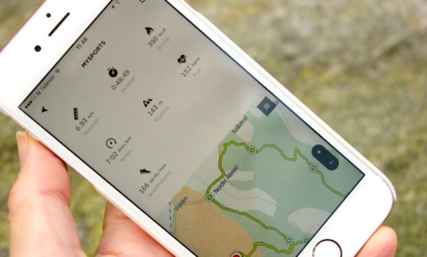 FULL OVERSIKT I APPEN: Med TomToms MySports-app får du full oversikt over treningsturene. GPS i klokka gjør det mulig uten at du trenger å ta med deg telefonen ut. Og vi opplever at registreringene er veldig nøyaktige. Foto: KRISTIN SØRDAL