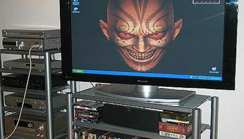 PC-bilde. Vi noterer god kvalitet ved bruk av plasmaen som PC-monitor.  Betraktningsvinkelen er god, og øker pga. den dreibare foten.