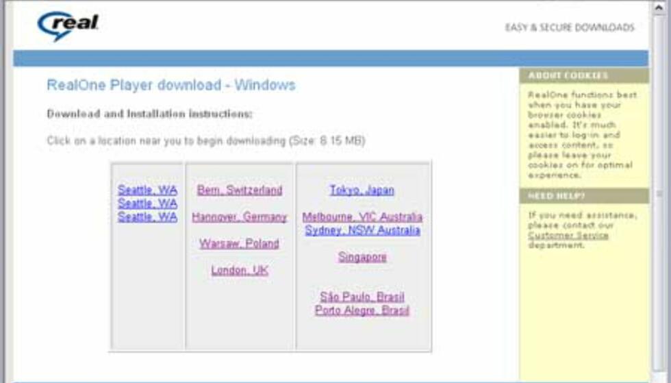 Når du har klikket lenken, får du spørsmål om hvor du vil laste ned RealPlayer fra. Velg f eks London UK.