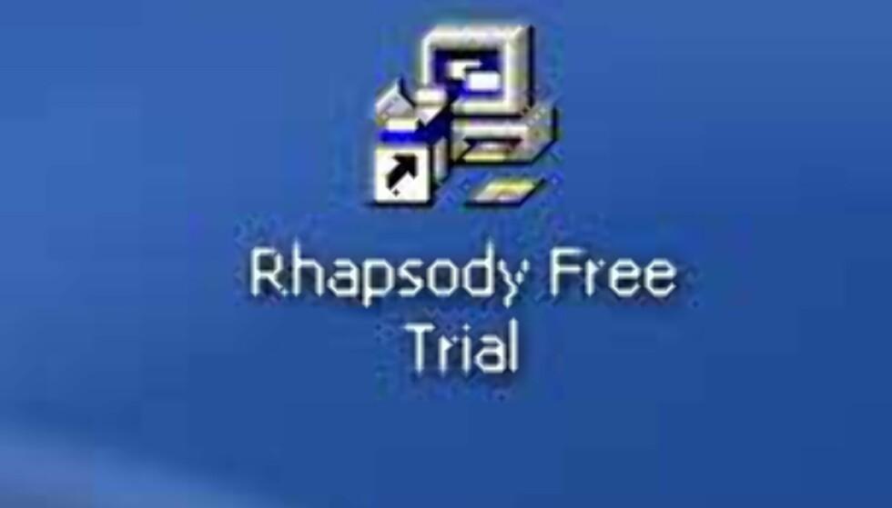Når RealPlayer er installert, skal du finne følgende ikon på skrivebordet ditt. Dobbelklikk, og installasjonen av Rhapsody starter.