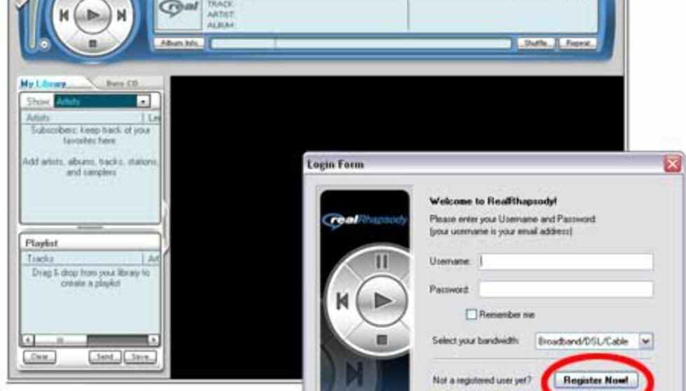 Når Rhapsody er ferdig installert, får du beskjed om å taste inn brukernavn og passord. Klikk på knappen Register Now!