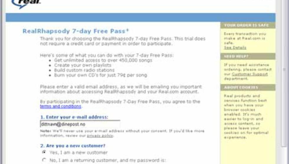 Nå åpnes nettsiden der du må registrere deg for å kunne bruke Real Rhapsody. Legg inn en epostadresse, og trykk knappen NEXT STEP