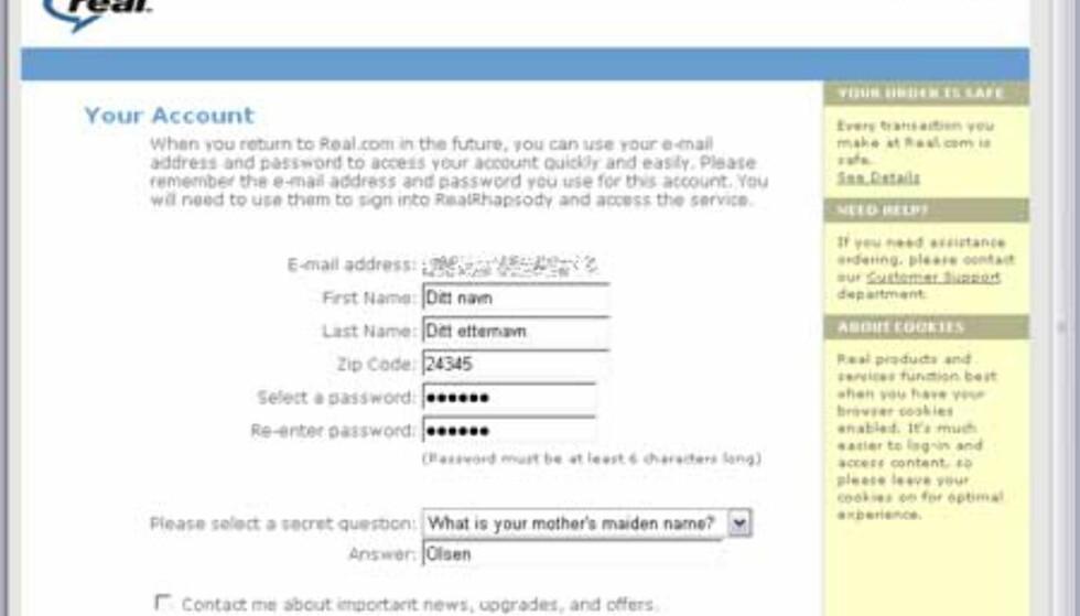Nå legger du inn fornavn og etternavn. I feltet Zip Code må du legge inn 5 siffer! Legg også inn et fritt valgt passrod på minst 6 tegn, og et hemmelig spørsmål og svar. Trykk NEXT STEP