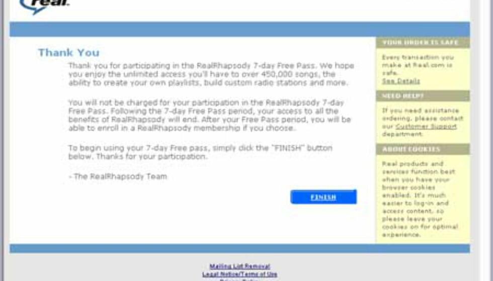 Dett var dett. Nå kan du begynne å bruke det nye brukernavnet og passordet ditt. Trykk FINISH.
