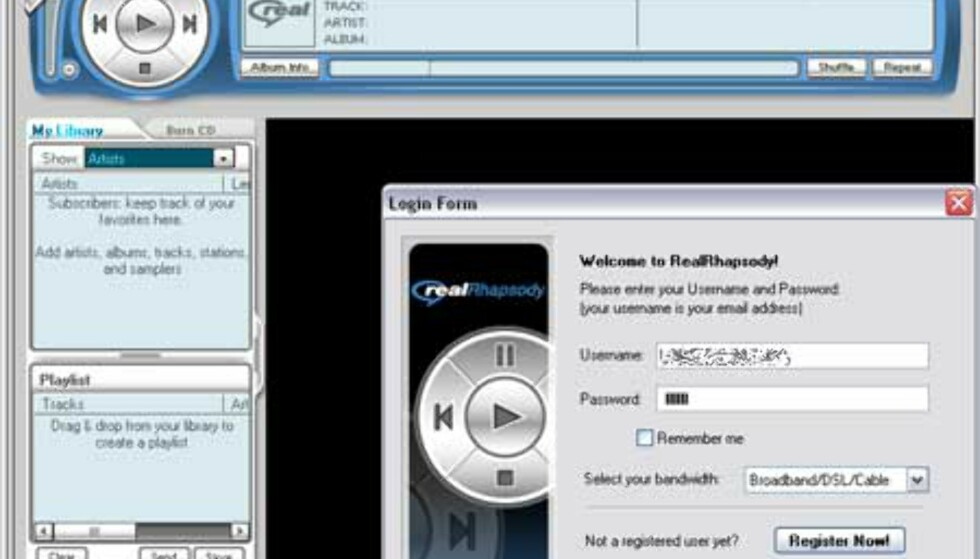 I Login-boksen skriver du nå det nye brukernavnet ditt, som er epostadressen du registrerte i skjemaet + passord. Trykk knappen Log In.