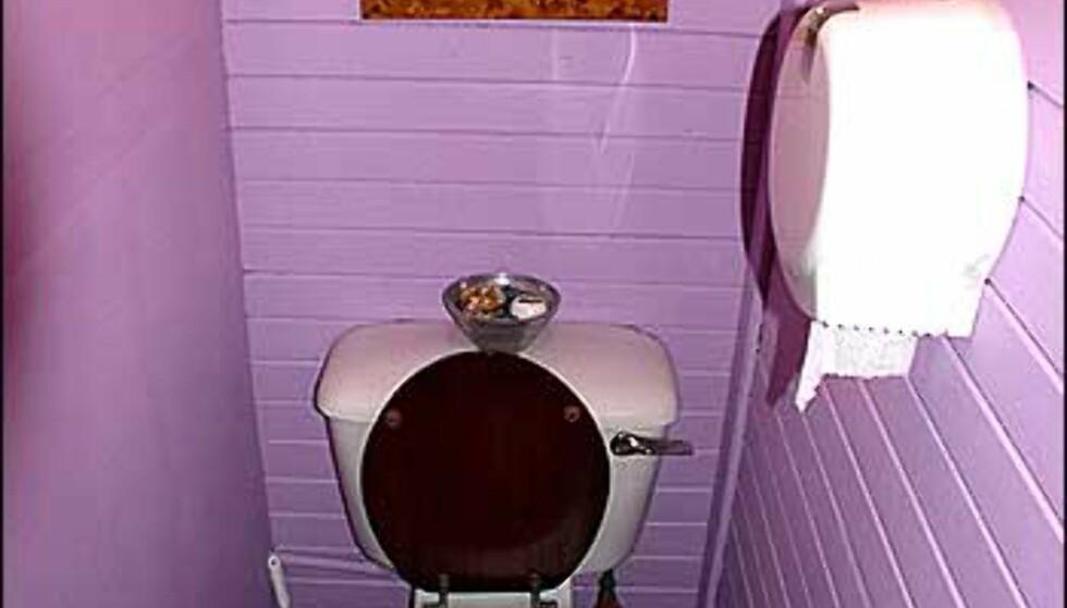 Det er lite, det er trangt, det er litt halvruskete. Men fargen! Dette er et toalett vi kom over på et spisested i Aberdeen.