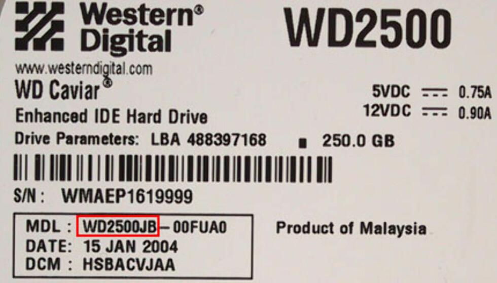 250 GB Western Digital WD2500JB OPPDATERT