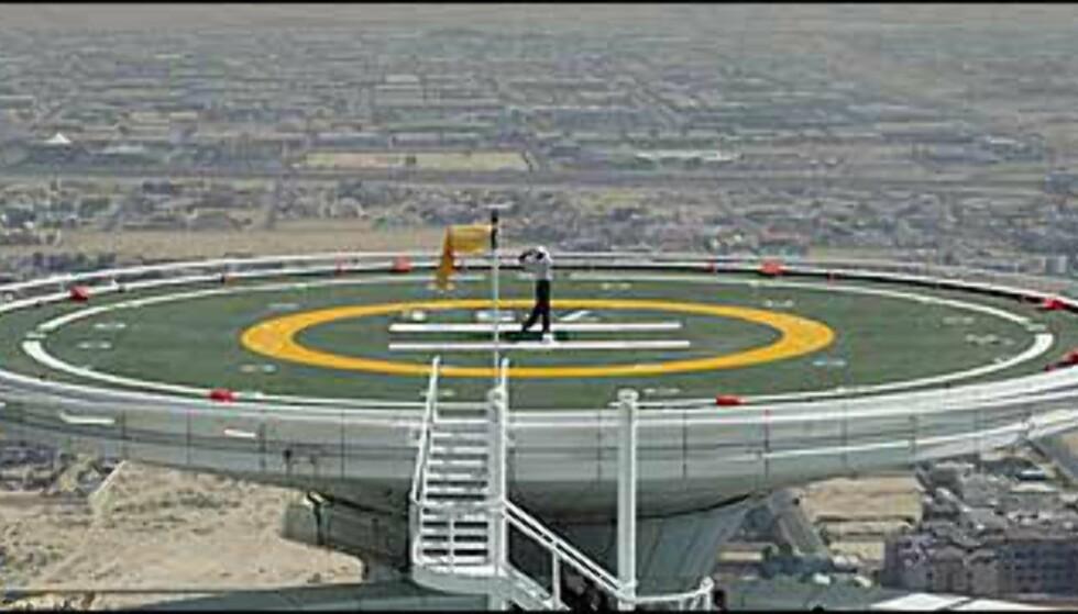 Golftrening med utsikt over Dubai. Foto: Dubai Desert Classic