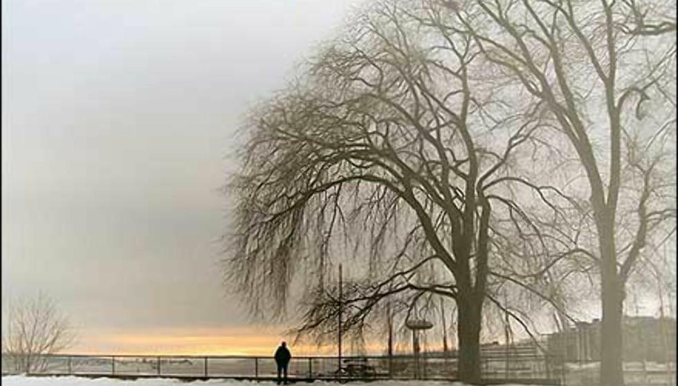 Vakker stemning med solgløtt under frostrøyk og tåkeskyer i Oslo. Bildet er tatt av Hussein Monfared. Foto: Hussein Monfared